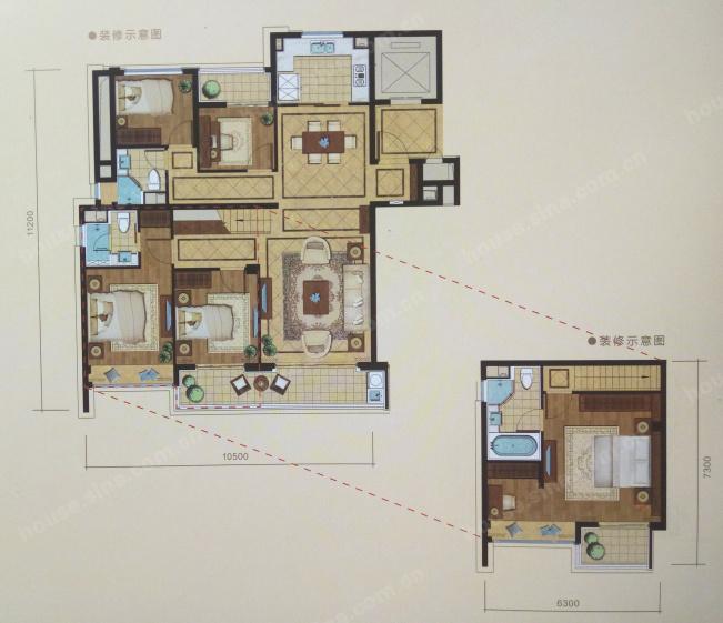 绿城锦玉园,4室2厅2卫,125平米(建面)