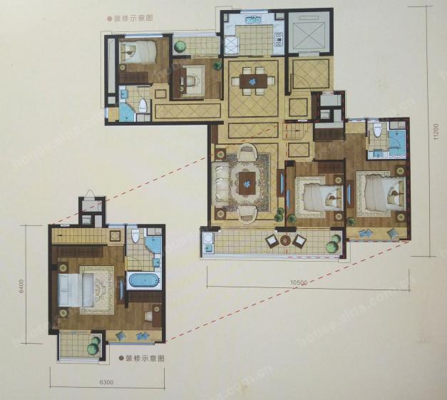 绿城锦玉园,4室2厅3卫,140平米(建面)